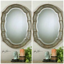 PAIR FRENCH PROVINCIAL VINTAGE STYLE WALL MIRROR FARMHOUSE VANITY ENTRY