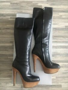 GIANMARCO LORENZI Platform Sexy Stiletto High heels Black Leather Boots sz 8
