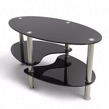 Glass Black Coffee Table Oval Side Shelves Chrome Base Living Room Furniture