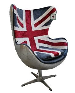 Union Jack Aviator Retro Velvet Swivel Egg Chair