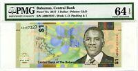 BAHAMAS 1 DOLLAR 2017 BAHAMAS CENTRAL BANK CH UNC PICK 77 a  VALUE $64