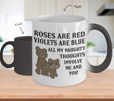 To My Wife Color Changing Mug Naughty Gift For Her Love Rose Red Violet Blue m90