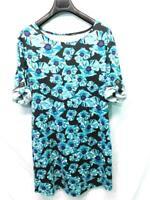 Soybu XL Black Blue Floral Dress Button Tab Rolled Short Sleeve Sheath Knee XL