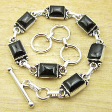 """Jewelry Stores ! 925 Silver Plated BLACK ONYX Bracelet 7.8"""" ONLINE STORE"""