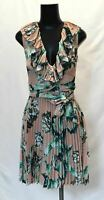 PatBO Women's Floral Printed Pleated Dress HD3 Pink Size US:0 NWT $650