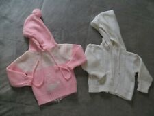 Vintage Baby Girl Pink Ivory White Zip Back Hoodie Sweater Whale Pom Pom 12M