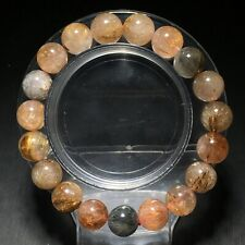 10.7mm Natural Color hair Rutilated Quartz Crystal Beads Bracelet