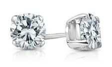 Round Created Diamond Brilliant Push Back Stud Earrings 14K White Gold 1.00Ct