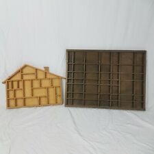 Thimble Display Cases Shelves x 2 Wooden House Rectangle Dark Wood