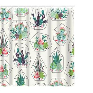 1Pc 180*180cm Green Leaf Printing Shower Curtain Natural Plant Bathroom Curtains