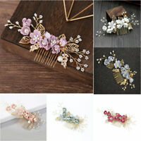 Handmade Bride Hair Accessories Hair Comb Pearl Flower Alloy Wedding Headdress