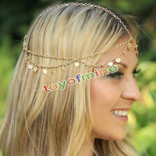 Boho Hippie Wedding Metal Head Waves Chain Jewelry Headband Headpiece Hair band