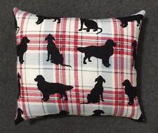 "Cute Handmade Fleece Plaid Silhouette Dog Accent - Throw Pillow 11"" x 10"""