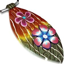 Fashion Fimo Polymer Clay Flower Long Oval Charm with Necklace FPA208