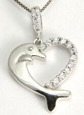 sólido 14k Blanco Oro Brillante HAWÁI Delfín Circonita Cúbica Colgante Corazón