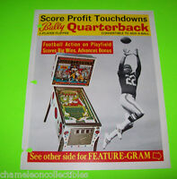 QUARTERBACK  By BALLY 1977 ORIGINAL PINBALL MACHINE PROMO SALES FLYER