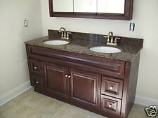 """60""""x21""""  Cherry Stained Solid Wood Vanity Cabinet"""