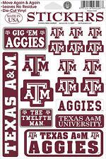 Texas A & M Aggies Vinyl Die-Cut Sticker Decals - 18 per sheet