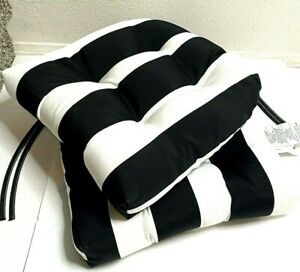 """Pillow Perfect Outdoor/Indoor Cabana Stripe Chair Pads 15.5"""" x 14.5"""" Black 2 NWT"""