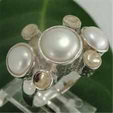 Hadar Designers 9k Yellow Gold Sterling Silver Pearl Ring 7,8,9,10 (I r390)