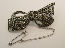 Vintage Silver Plated Marcasite Bow Brooch