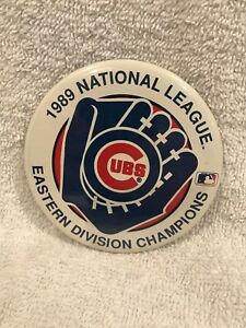 VINTAGE 1989 Chicago Cubs Eastern Division Champions 3 1/2 Inch Button, NICE!