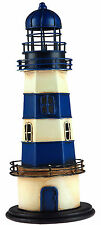 Blue And White Nautical Metal Tin 28cm Lighthouse Ornament Decoration