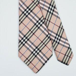 BURBERRY LONDON TIE Nova Check in Pink Classic Woven Silk Necktie