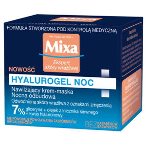 Mixa Hyalurogel Sensitive Hydrating Cream Mask Overnight Recovery HyaluronicAcid