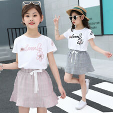 IENENS Baby Girls Cothes Children Kids Cotton Tops + Dress Outfits Sets Clothing