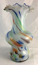 End of Day Art Glass Vase w Ruffled Rim Multi Color Swirls Murano Style 8""