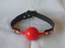 vegan friendly 51mm LARGE RED SILICONE BALL GAG PVC BLACK STRAP bondage BALLGAG