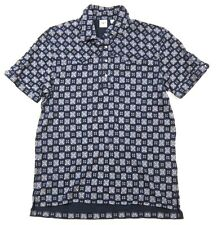 Mens Uniqlo x Michael Bastian Printed Navy Blue Short Sleeve Polo Shirt sz XL