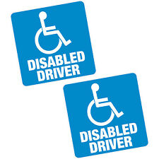 "2 x Disabled DRIVER Blue Badge 4"" 100mm Sq Vinyl Sticker Car Van Home Motability"