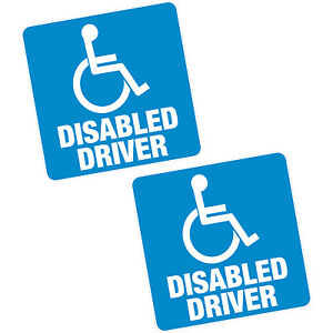 "2 x Disabled DRIVER Blue Badge 4"" 100mm Sq Vinyl Sticker Car Van Home Motability"