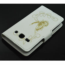 Butterfly White Leather Cover Case Skin For Samsung Galaxy Star Advance SM G350E