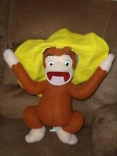 "Monkey Curious George Big Yellow Mexican Hat Stuffed Plush Kellytoy LG 14-22"""