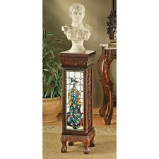 AE65731 Peacock Stained Glass Illuminated Hand Carved Pedestal 35""