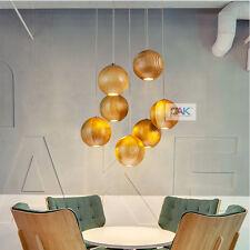 Modern Wood Globe LED Chandelier Light Dining Room Restaurant Pendant Light