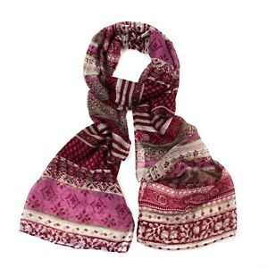 Wine Red Paisley Print Striped Boho Scarf / Hijab / Headscarf/ / Face covering