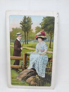 Vintage 1911 Postcard Man Passing By Woman Sitting On Wooden Fence Embossed