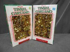 Lot Vtg Young Craft Gold Christmas Tinsel Garland Tarnish Resistant Usa