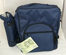 Picnic Essentials Backpack Service For 4 Blue Insulated Wine Bottle Holder New