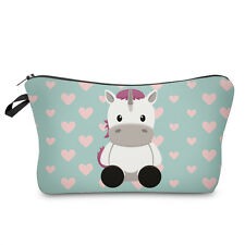 sitting unicorn hearts cosmetic makeup bag pencil case