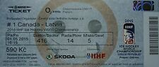 mint TICKET Eishockey WM 1.5.2015 Canada - Latvia in Prag