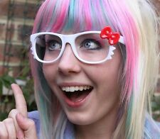 KITTY  BOW GEEK GLASSES WHITE RED GOTH KAWAII EMO PUNK CUTIE--NO LENS