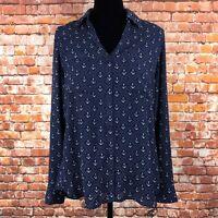 Express Women's Navy Blue Anchor The Portofino Shirt Button Down Top Size Large