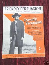FRIENDLY PERSUASION - ORIGINAL SHEET MUSIC - THEE I LOVE - GARY COOPER