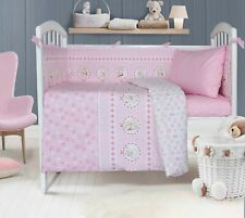 Cotton Crib Bedding Set 4 pieces Quilt, Fitted Sheet, Pillow Case and Bumper.