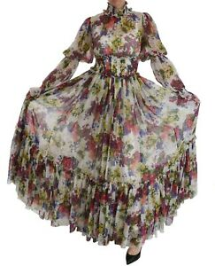 DOLCE & GABBANA Dress Multicolor Floral Silk Long Gown IT44 / US10 / L